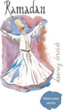 Acuarela del derviche del baile Imagenes de archivo