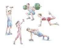 Acuarela del entrenamiento de Sportspeople stock de ilustración