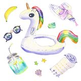 Acuarela del flotador del unicornio stock de ilustración