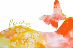 Acuarela del fondo de la mariposa con amor Imagen de archivo libre de regalías