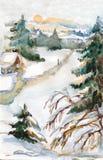 Acuarela del invierno Fotografía de archivo libre de regalías