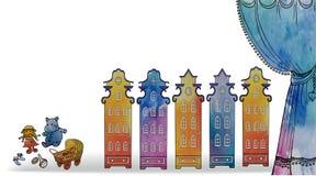 Acuarela del juguete de la casa del bebé de la tarjeta stock de ilustración