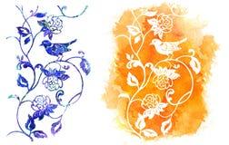 Acuarela del pájaro y de las flores Imagenes de archivo