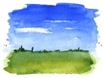 Acuarela del paisaje del verano stock de ilustración