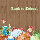 Acuarela del vector de nuevo al cartel de la escuela Fotografía de archivo libre de regalías