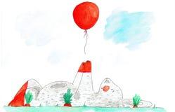 Acuarela dibujada mano del conejo que miente en hierba Fotografía de archivo libre de regalías