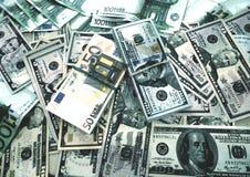 Acuarela euro del bosquejo del fondo de los dólares del dinero fotos de archivo