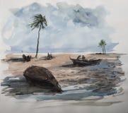 Acuarela exótica de la costa Imágenes de archivo libres de regalías