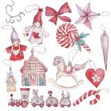 Acuarela exhausta de la mano fijada con los juguetes de la Navidad ilustración del vector