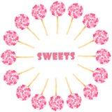 Acuarela fijada con los dulces rosados ilustración del vector
