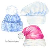 Acuarela fijada con tres tipos de sombrero stock de ilustración