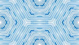 Acuarela geométrica azul Golpeteo inconsútil curioso stock de ilustración