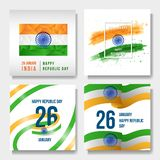 Acuarela india del día nacional, bajo polivinílica, bandera ilustración del vector