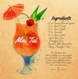 Acuarela Kraft de los cócteles de Mai Tai Imágenes de archivo libres de regalías