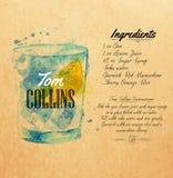 Acuarela Kraft de los cócteles de Tom Collins Imagen de archivo