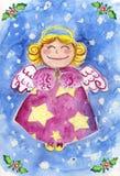 Acuarela linda del ángel de la Navidad Imagen de archivo
