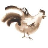 Acuarela marrón del gallo libre illustration