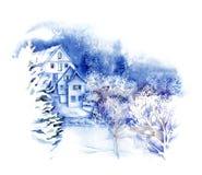 Acuarela - país de las maravillas del invierno Imagenes de archivo