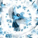 Acuarela que dibuja el modelo inconsútil en el tema de la primavera, calor, ejemplo de un pájaro de una tropa de tits grandes pas stock de ilustración