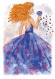 Acuarela que dibuja a una muchacha Imagenes de archivo