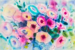 Acuarela que pinta el color púrpura, rosado de las flores de la correhuela Fotos de archivo