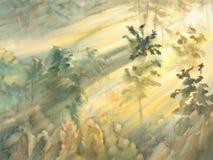 Acuarela soleada del paisaje del bosque de la mañana Imagen de archivo libre de regalías