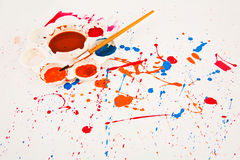 Acuarela usada colorida de los artistas Imagen de archivo libre de regalías