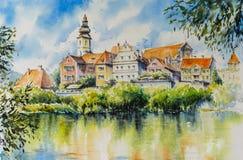 Acuarelas de la ciudad de Frohnleiten pintadas Imágenes de archivo libres de regalías