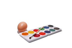 Acuarelas y huevo Imágenes de archivo libres de regalías