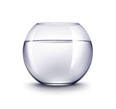 Acuario azul realista de Violet Transparent Shiny Glass Fishbowl del vector con agua sin los pescados aislados en fondo Imagen de archivo
