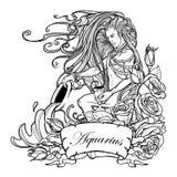 Acuario de la muestra del zodiaco Hombre joven hermoso con el pelo largo que sostiene la ánfora grande Bosquejo blanco y negro Foto de archivo