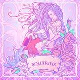 Acuario de la muestra del zodiaco Hombre joven hermoso con el pelo largo que sostiene la ánfora grande Paleta en colores pastel d Foto de archivo libre de regalías