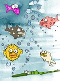 Acuario de los pescados de los colores de agua Fotos de archivo libres de regalías