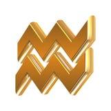 Acuario de oro de la muestra del zodiaco Fotos de archivo
