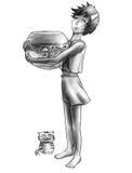 Acuario grande y pequeño gato Fotografía de archivo libre de regalías