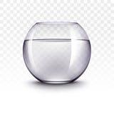 Acuario realista de Violet Transparent Shiny Glass Fishbowl con agua sin los pescados en el fondo blanco Foto de archivo libre de regalías