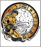 Acuario y la muestra del zodiaco. Círculo del horóscopo Fotografía de archivo libre de regalías