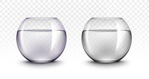 Acuarios de Violet Black Transparent Glass Fishbowls Imágenes de archivo libres de regalías