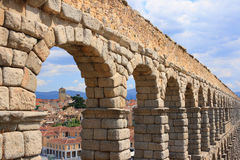The Acueduct (Segovia, Spain). The roman Acueduct is the most emblematic of all the architectural structures in Segovia. Was in all likelihood erected in te 1st Stock Photos