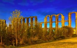Acueducto de Los Milagros in der Nacht Stockfotografie