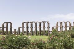 Acueducto de Los Milagros, Mérida, Spanien Stockbild