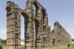 Acueducto de los milagros, Merida, Spain. Roman Aqueduct of the Miracles in Merida, Extremadura, Spain Stock Photography
