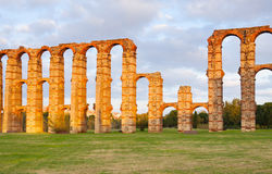 Acueducto de los Milagros - Roman aqueduct. Merida. Evening  view of Acueducto de los Milagros - Roman aqueduct. Merida, Spain Royalty Free Stock Photos