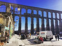 Acueducto de Segovia. The old town of Segovia and it's Aqueduct in Spain Royalty Free Stock Photos