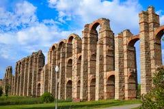 Acueducto Los Milagros Merida Badajoz akvedukt Arkivfoto