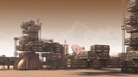 Acuerdo científico en un planeta rojo árido stock de ilustración