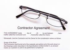 Acuerdo de Contactor's Fotografía de archivo libre de regalías