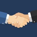 Acuerdo del hombre de negocios del apretón de manos ejemplo plano del estilo-vector stock de ilustración