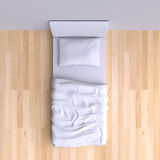 Acueste con la almohada y la manta en el cuarto de la esquina Foto de archivo