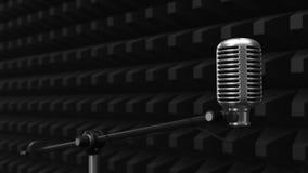 Acuistic-Schaum bedeckte Wand mit Kondensatormikrofon stilles Raumkonzept Abbildung 3D vektor abbildung